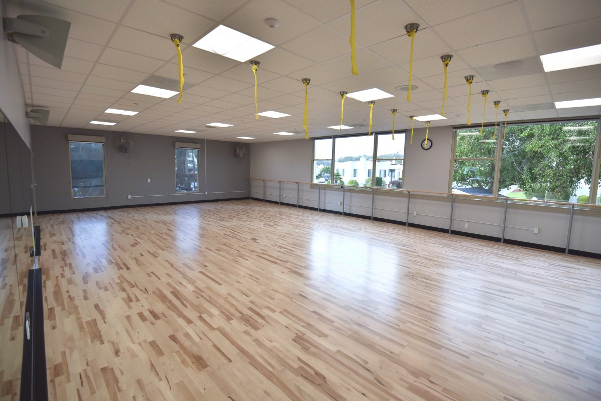 (Studio view 2) We will nearly double the space currently available for group exercise classes with the new studio.
